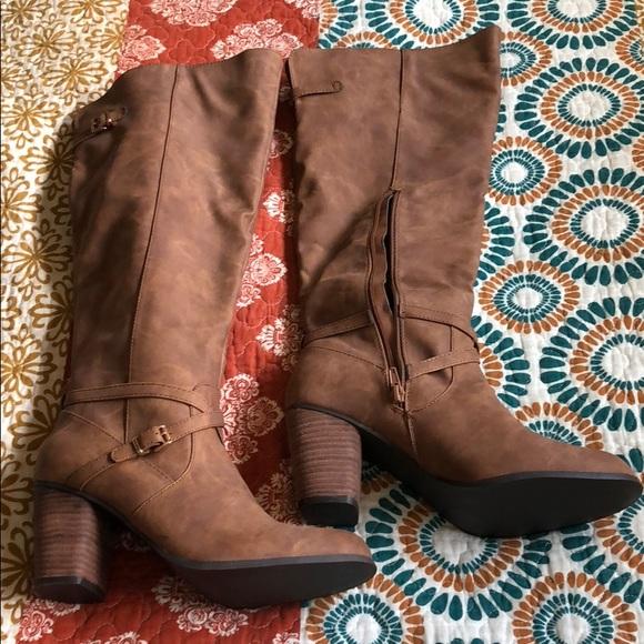 new season attractive price harmonious colors madden girl Women's Davis Tall Shaft Boot Cognac